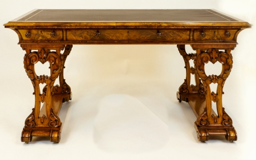 Antique Figured Walnut Library Table or Desk Ref: SN686