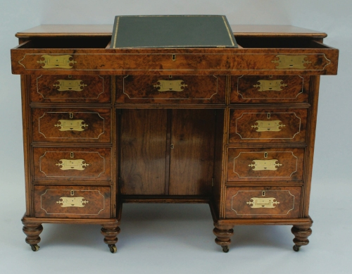Antique Campaign Desk in Teak and Amboyna